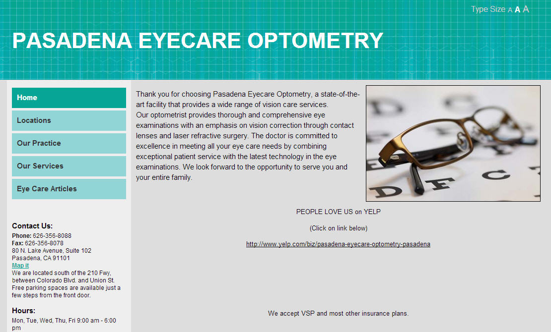 pasadena eyecare optometry